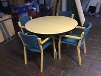 Beech round meeting table with 4 chairs