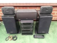 TECHNICS CD STEREO SYSTEM WITH FLOOR AND BACK SPEAKERS + MOR