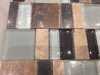 Brown, copper, mint, Glass, Mosaic Wall tiles