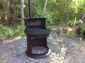 Outdoor Fire Pit Fire Place Cast Iron with grill & smoke stack