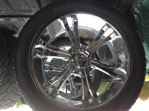 "4 chrome 22""x9.5rims and tires"
