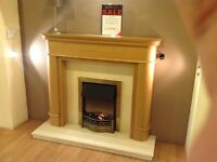 Jasmine Oak Surround With Coral Cream Micromarble Hearth & Backpanel Ex Display