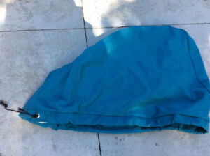 Turquoise colour sunbrella outboard motor engine cover