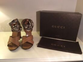 Gucci high heel sandal in biscotto leather
