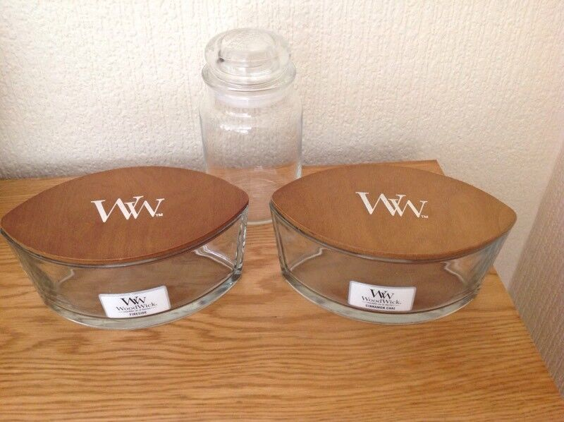 3 CANDLE BOWLS/JARS