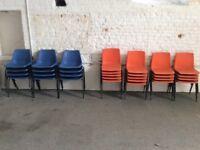 30 Orange / Blue plastic chairs with metal legs