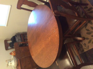 "42"" round solid oak Antique dining table and chairs"