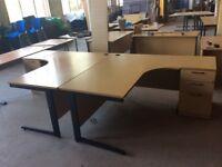 2 x Oak Lshape desks with pedestals