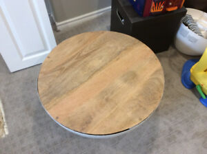 Round drum coffee table with metal base