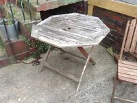 Garden table and small wooden table