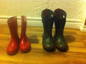 Size 10 Bogs winter boots and size 10 raining boots..