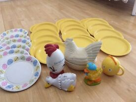 Easter bundle! Plates, crumb pet, cup, chicken egg ceramics!