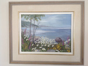 VERA NEWMAN PAINTING FLORAL LANDSCAPE WATER VIEW