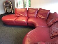 Red leather sofa corner unit