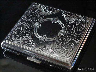 Metal Cigarette Case Box Holder Holds 20 Cigarettes Silver Ship From Us