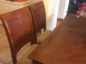 Dining table set of 6 chairs with expendable table