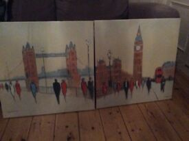 2 x canvas paintings of London (from Next)