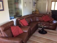 DFS brown leather corner sofa suite and recliner chair