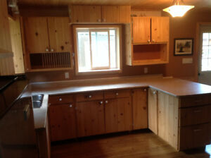 Hand-Crafted White Pine Kitchen Cupboards/Drawers and Countertop