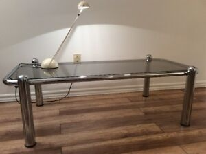 1x 1970 Vintage Chrome Coffee Table-Table a Café Retro 1970
