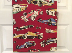 "Fabric with ""race car"" print"