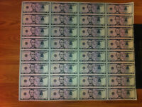 $5 UNCUT SHEET $5X32 Legal USA $FIVE DOLLAR-Real Currency Note