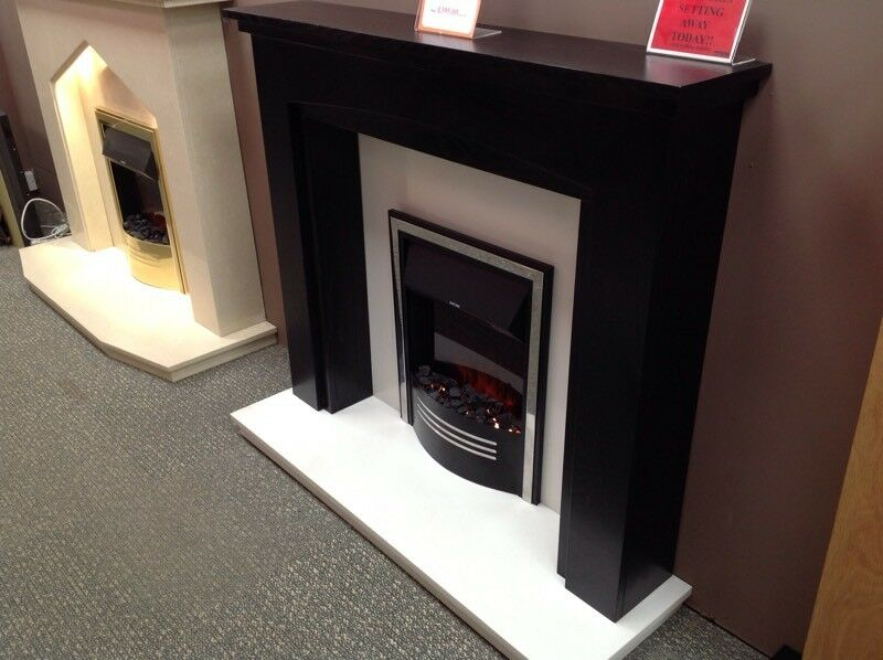 Black Mantel With White Backpanel & Hearth
