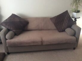 Large 2 seater settee, light fawn. Immaculate