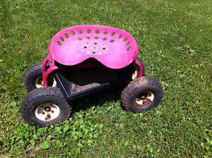 Rolling Garden Stool Tractor Seat Cart