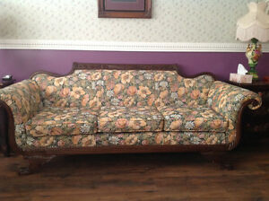 Beautiful Antique Duncan Fyfe Sofa. Rocker with same fabric