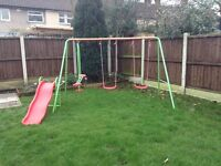 Elc swing set with slide and seesaw, used. Free to a good home.