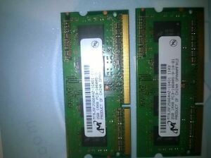 Laptop Memory 2X2GB DDR3 SODIMM 1033Mhz/ PC-10600