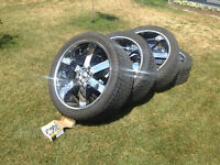 24'' 6 bolt chevy/gmc half ton rims! with new 305/35r24 tires!