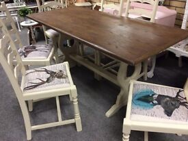 Six seater vintage Refectory table with stag fabric chairs