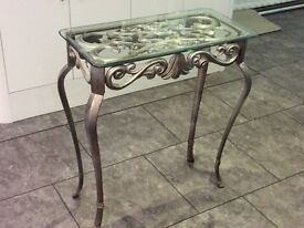 CONSOLE METAL TABLE with GLASS TOP