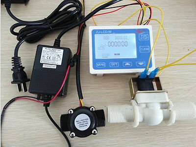 New 34 Water Flow Control Lcd Meter Flow Sensor Solenoid Valve Power Adapter