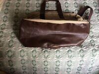 Designer fabric/leather overnight holdall