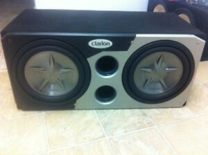 """Two 12"""" Clarion Subwoofers, Clarion Box, and Audiobahn Amplifier"""