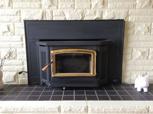 Pacific Energy wood burning fireplace insert.