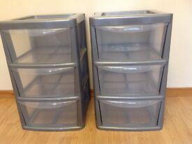 Pair of plastic storage units