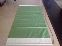 ROMAN BLIND - GREEN FAUX SILK WITH CREAM BORDER- 110cm wide, 232 cm long