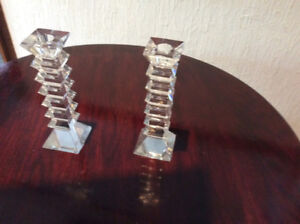 ORIGINAL CRYSTAL PILLAR CANDLE HOLDERS (NEW)