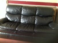 Black leather three piece suite