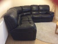 Real leather, black, elec, recliner corner sofa, not sat on!