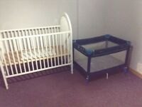 Baby white crib with round back and playpen,,$40