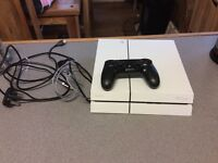 Playstation 4 complete white with leads and 1 controller