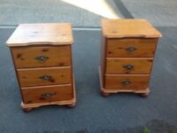 Pair Antique Cinnamon Pine bedside 3 Drawer Chest of Drawers on Bun Feet