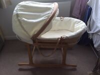 Mamas And Papas Moses Basket, stand and mattress