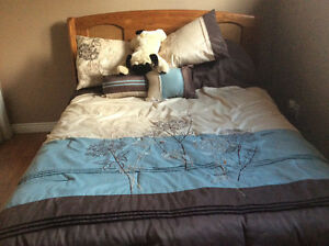 Double bed. Headboard , frame, mattress and box spring