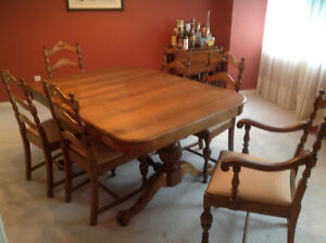 Antique Walnut dining table with 6 ladder back chairs